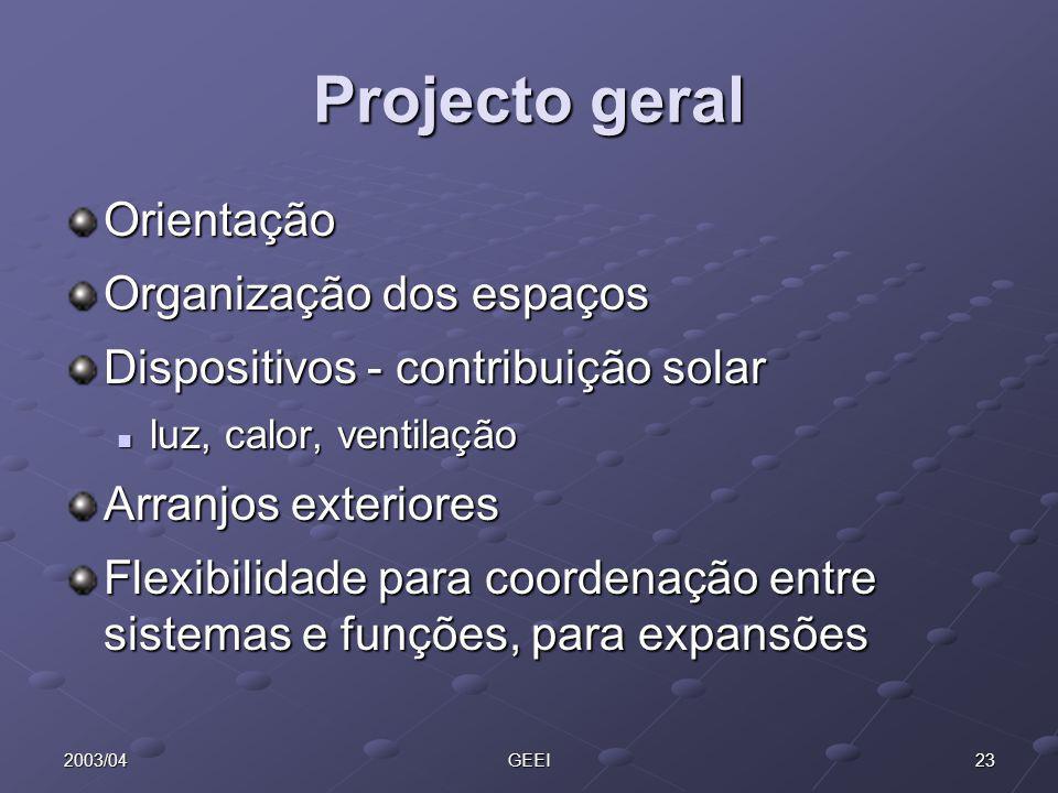 232003/04GEEI Projecto geral Orientação Organização dos espaços Dispositivos - contribuição solar luz, calor, ventilação luz, calor, ventilação Arranj