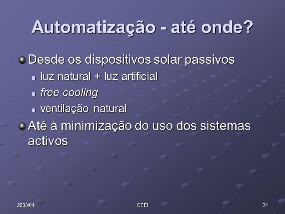 242003/04GEEI Automatização - até onde? Desde os dispositivos solar passivos luz natural + luz artificial luz natural + luz artificial free cooling fr