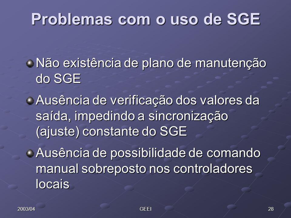 282003/04GEEI Problemas com o uso de SGE Não existência de plano de manutenção do SGE Ausência de verificação dos valores da saída, impedindo a sincro
