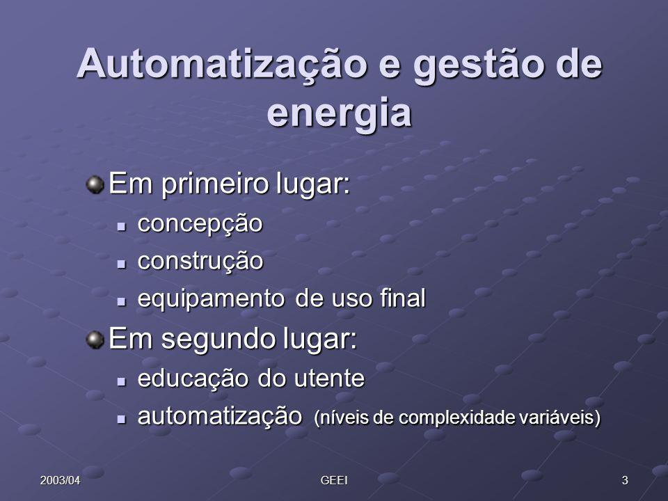32003/04GEEI Automatização e gestão de energia Em primeiro lugar: concepção concepção construção construção equipamento de uso final equipamento de us