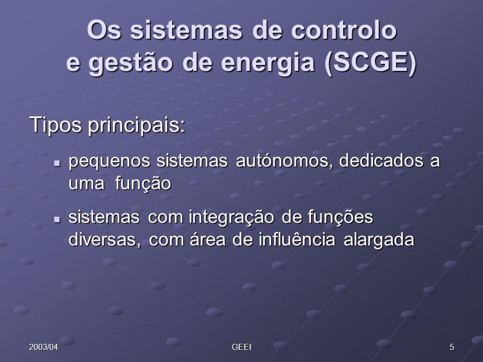 52003/04GEEI Os sistemas de controlo e gestão de energia (SCGE) Tipos principais: pequenos sistemas autónomos, dedicados a uma função pequenos sistema
