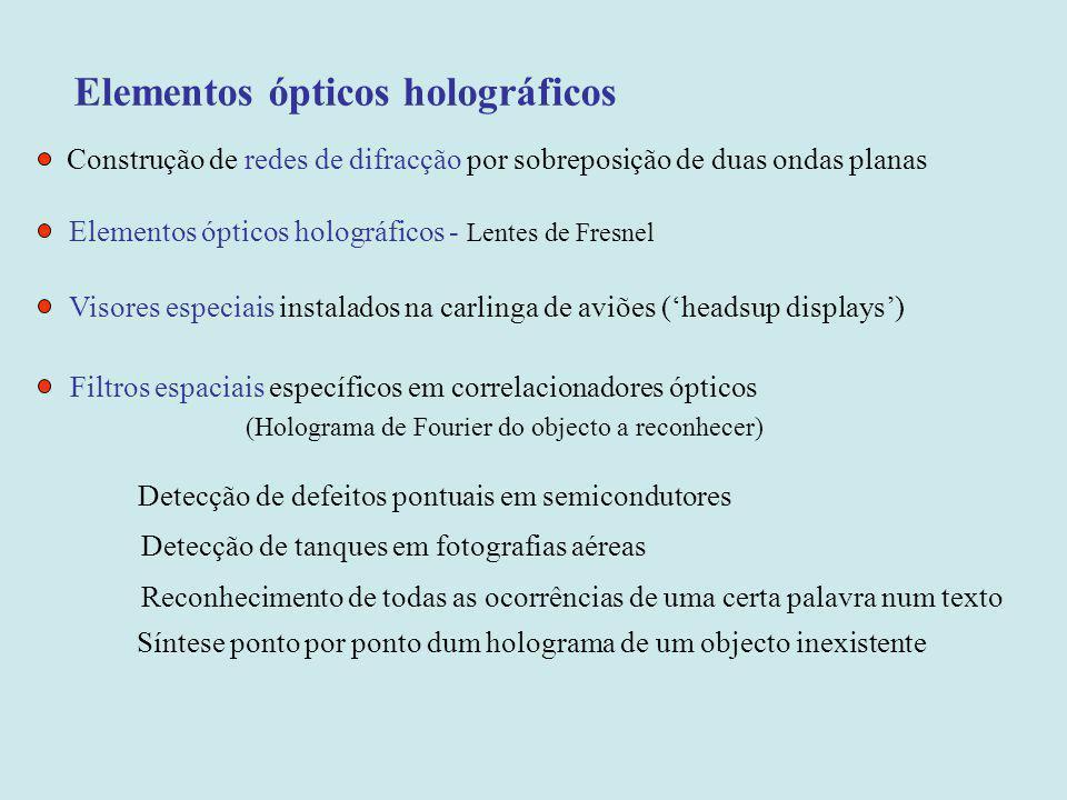 Elementos ópticos holográficos Construção de redes de difracção por sobreposição de duas ondas planas Elementos ópticos holográficos - Lentes de Fresn