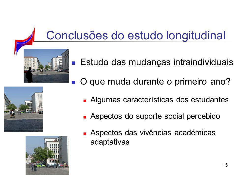13 Conclusões do estudo longitudinal Estudo das mudanças intraindividuais O que muda durante o primeiro ano? Algumas características dos estudantes As