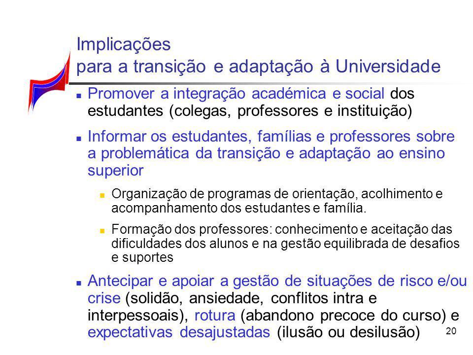 20 Implicações para a transição e adaptação à Universidade Promover a integração académica e social dos estudantes (colegas, professores e instituição