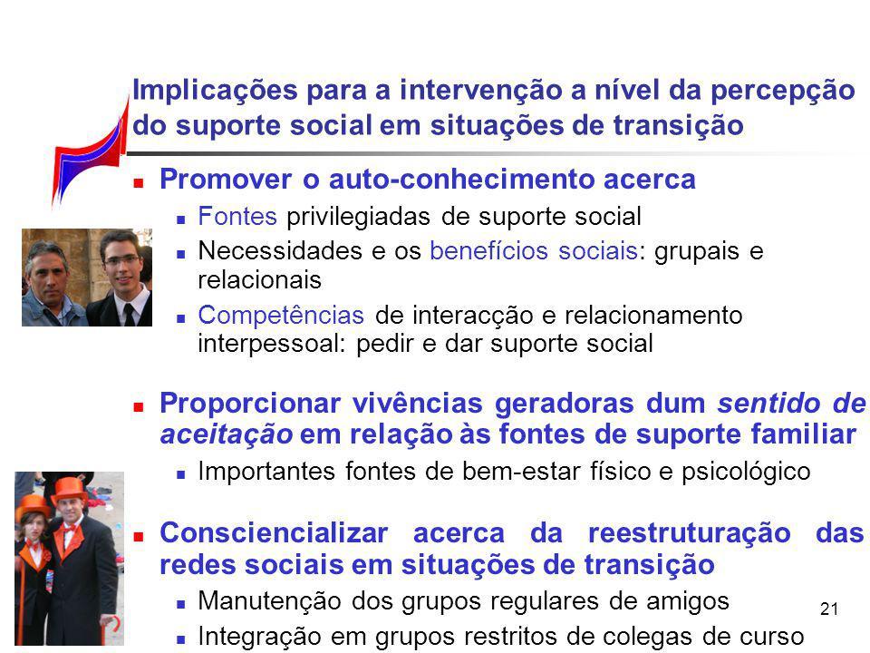 21 Implicações para a intervenção a nível da percepção do suporte social em situações de transição Promover o auto-conhecimento acerca Fontes privileg