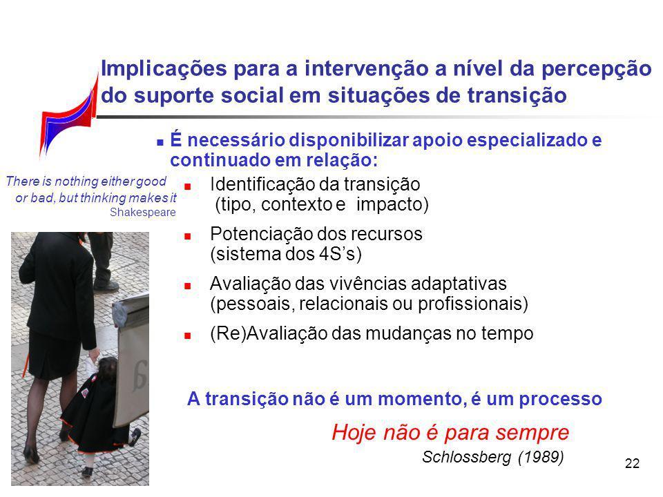 22 É necessário disponibilizar apoio especializado e continuado em relação: Identificação da transição (tipo, contexto e impacto) Potenciação dos recu