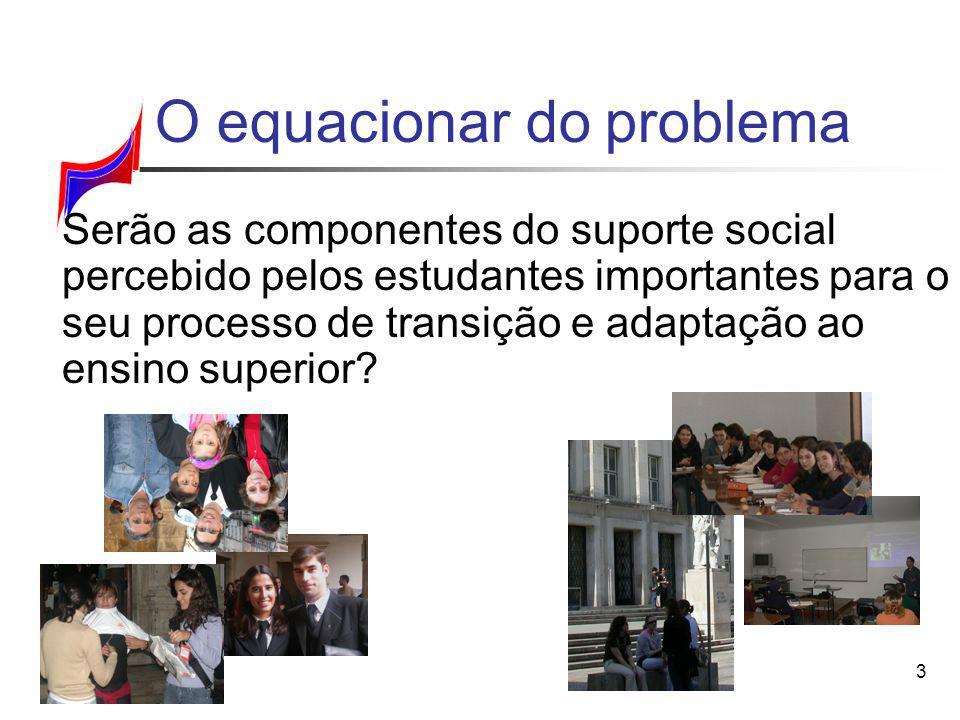 3 O equacionar do problema Serão as componentes do suporte social percebido pelos estudantes importantes para o seu processo de transição e adaptação