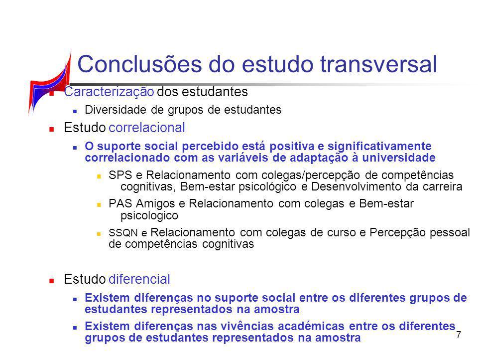 7 Conclusões do estudo transversal Caracterização dos estudantes Diversidade de grupos de estudantes Estudo correlacional O suporte social percebido e