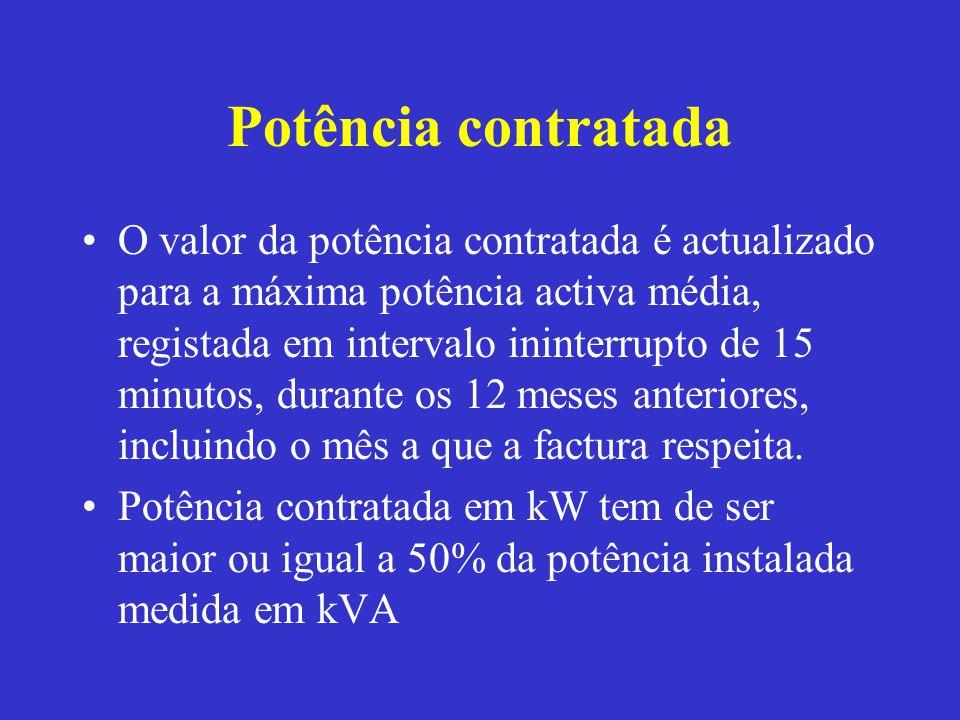 Potência contratada O valor da potência contratada é actualizado para a máxima potência activa média, registada em intervalo ininterrupto de 15 minuto