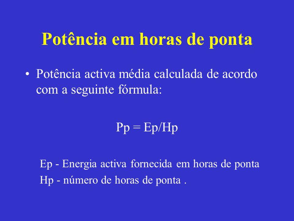 Potência em horas de ponta Potência activa média calculada de acordo com a seguinte fórmula: Pp = Ep/Hp Ep - Energia activa fornecida em horas de pont