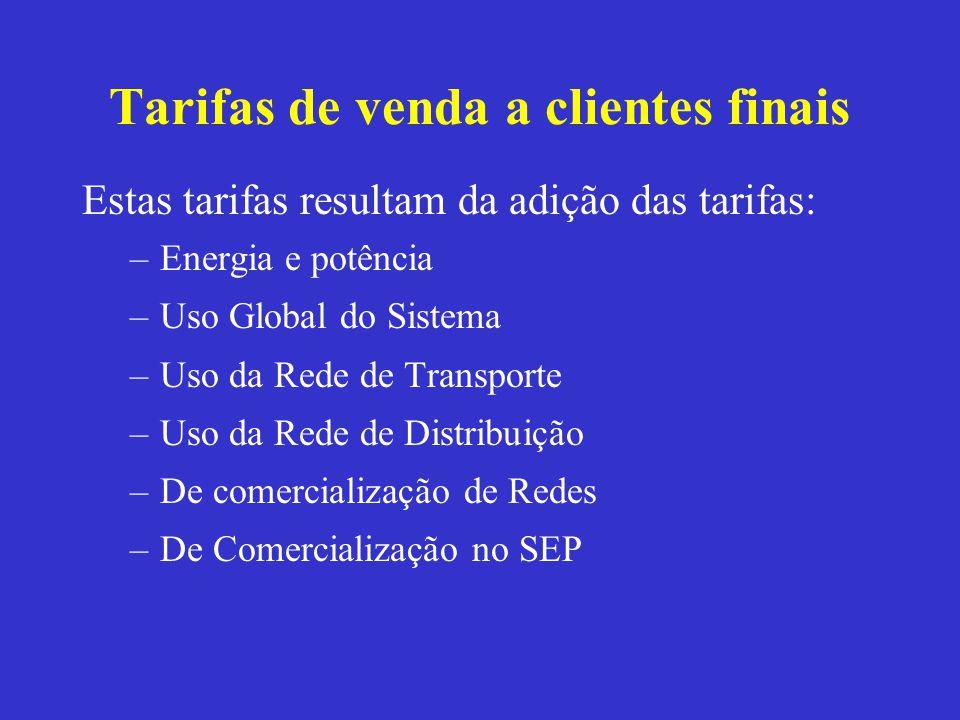 Tarifas de venda a clientes finais Estas tarifas resultam da adição das tarifas: –Energia e potência –Uso Global do Sistema –Uso da Rede de Transporte