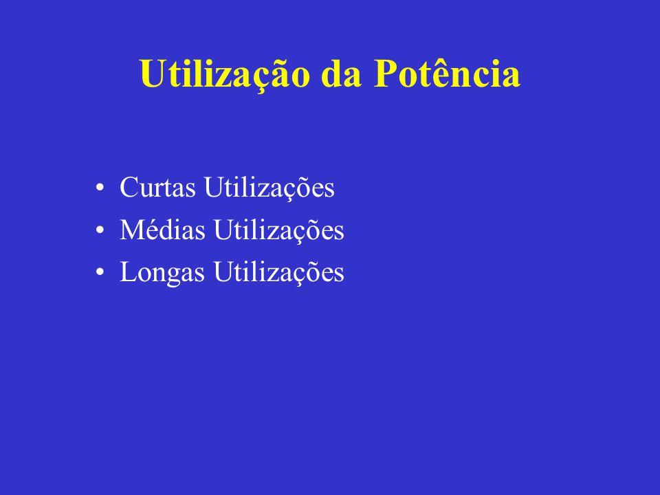 Utilização da Potência Curtas Utilizações Médias Utilizações Longas Utilizações