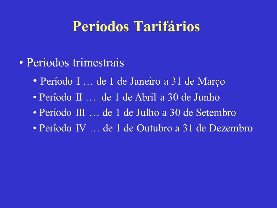 Períodos Tarifários Períodos trimestrais Período I … de 1 de Janeiro a 31 de Março Período II … de 1 de Abril a 30 de Junho Período III … de 1 de Julh