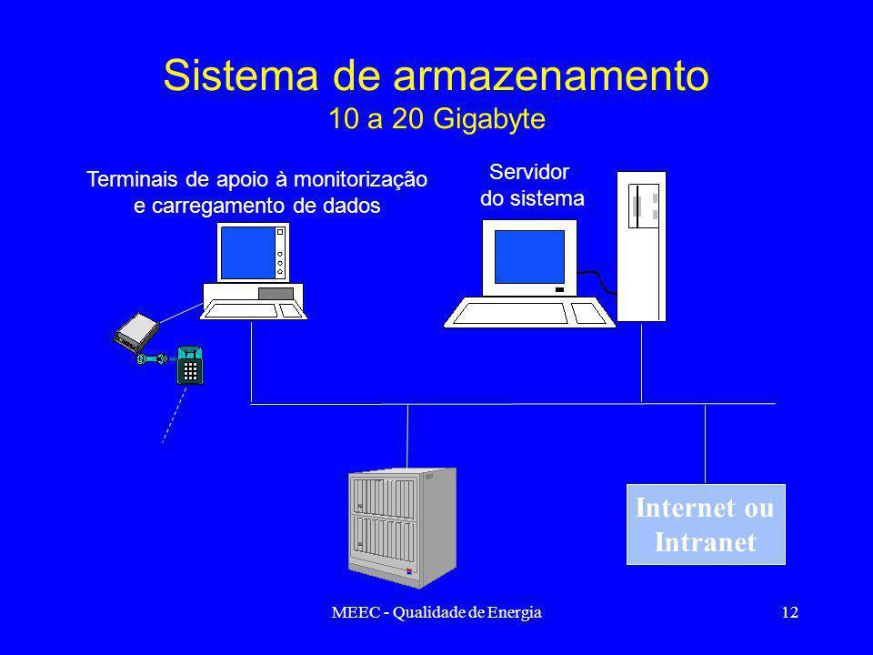 MEEC - Qualidade de Energia12 Internet ou Intranet Terminais de apoio à monitorização e carregamento de dados Servidor do sistema Sistema de armazenamento 10 a 20 Gigabyte
