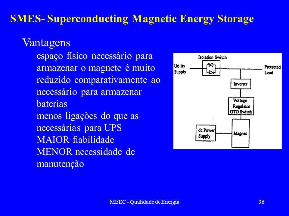 MEEC - Qualidade de Energia36 SMES- Superconducting Magnetic Energy Storage Vantagens espaço físico necessário para armazenar o magnete é muito reduzido comparativamente ao necessário para armazenar baterias menos ligações do que as necessárias para UPS MAIOR fiabilidade MENOR necessidade de manutenção
