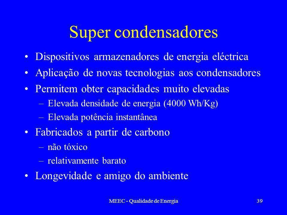 MEEC - Qualidade de Energia39 Super condensadores Dispositivos armazenadores de energia eléctrica Aplicação de novas tecnologias aos condensadores Permitem obter capacidades muito elevadas –Elevada densidade de energia (4000 Wh/Kg) –Elevada potência instantânea Fabricados a partir de carbono –não tóxico –relativamente barato Longevidade e amigo do ambiente