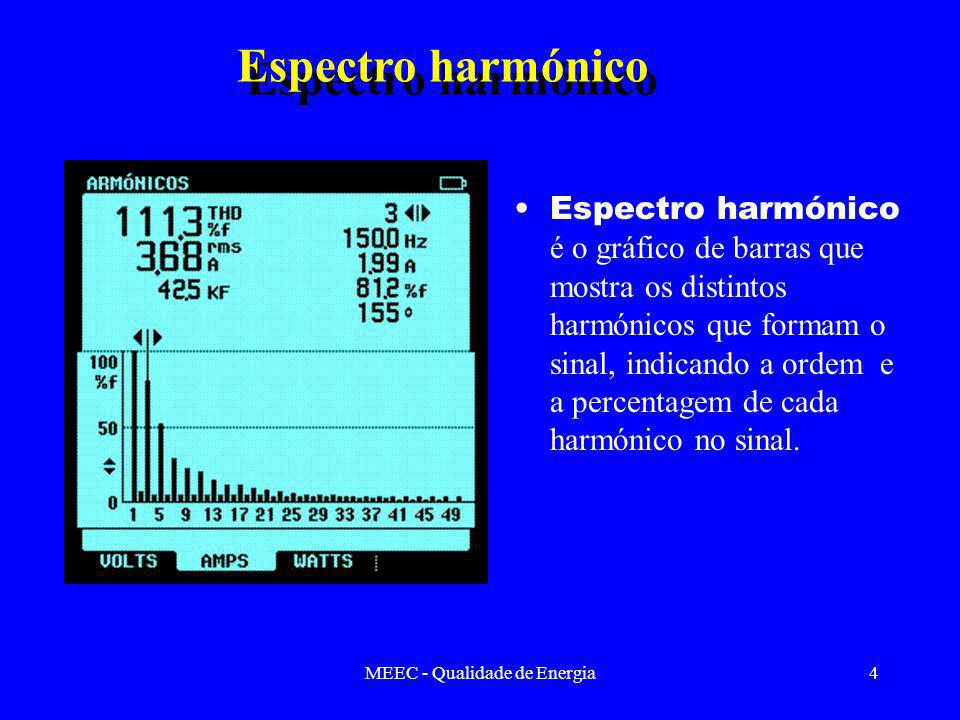 MEEC - Qualidade de Energia4 Espectro harmónico é o gráfico de barras que mostra os distintos harmónicos que formam o sinal, indicando a ordem e a percentagem de cada harmónico no sinal.