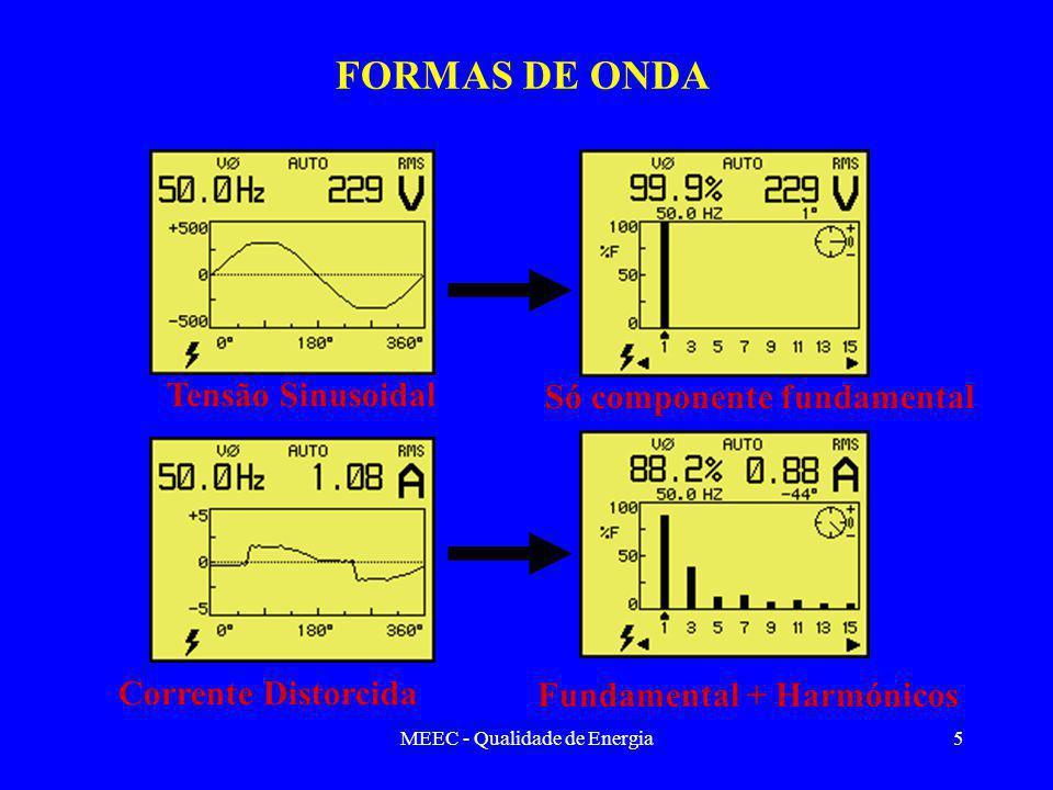 MEEC - Qualidade de Energia5 FORMAS DE ONDA Tensão Sinusoidal Só componente fundamental Corrente Distorcida Fundamental + Harmónicos