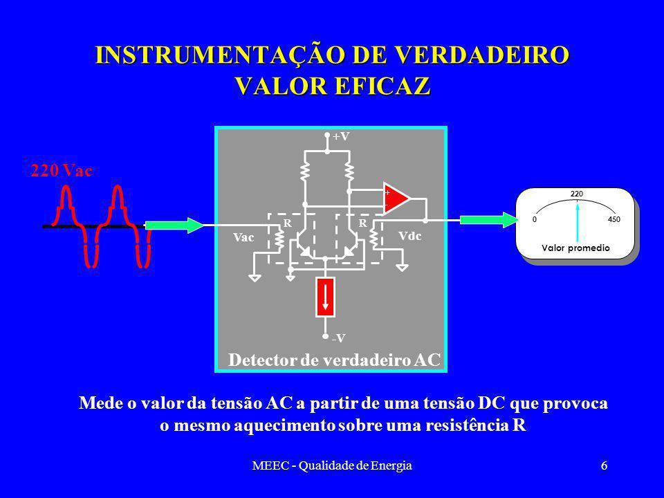 MEEC - Qualidade de Energia6 INSTRUMENTAÇÃO DE VERDADEIRO VALOR EFICAZ 220 Vac Mede o valor da tensão AC a partir de uma tensão DC que provoca o mesmo aquecimento sobre uma resistência R + - +V -V Detector de verdadeiro AC 0 450 220 Valor promedio Vac Vdc RR