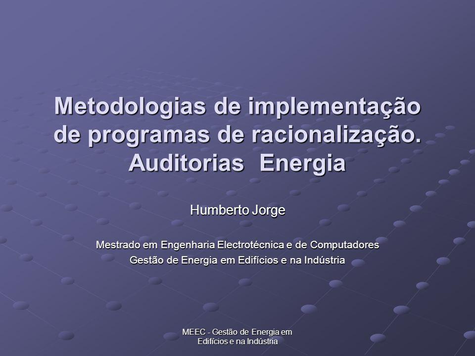 MEEC - Gestão de Energia em Edifícios e na Indústria Metodologias de implementação de programas de racionalização. Auditorias Energia Humberto Jorge M