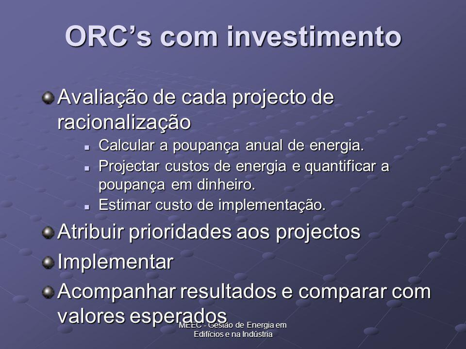 MEEC - Gestão de Energia em Edifícios e na Indústria ORCs com investimento Avaliação de cada projecto de racionalização Calcular a poupança anual de e