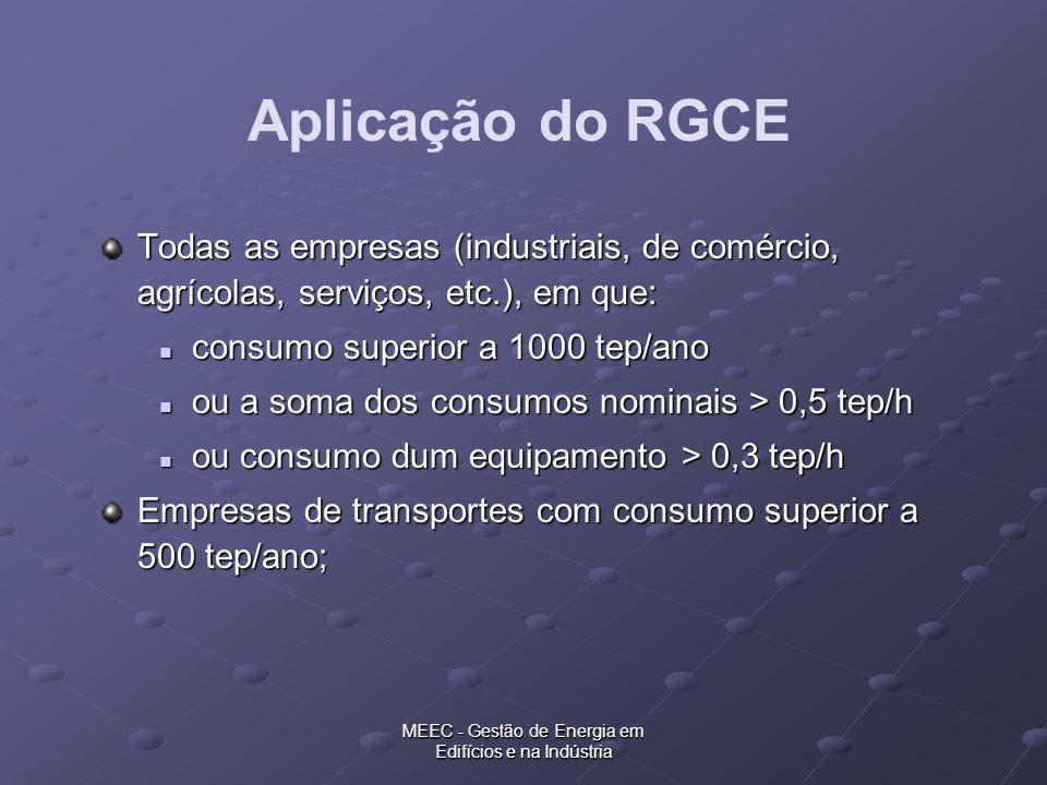 MEEC - Gestão de Energia em Edifícios e na Indústria Todas as empresas (industriais, de comércio, agrícolas, serviços, etc.), em que: consumo superior