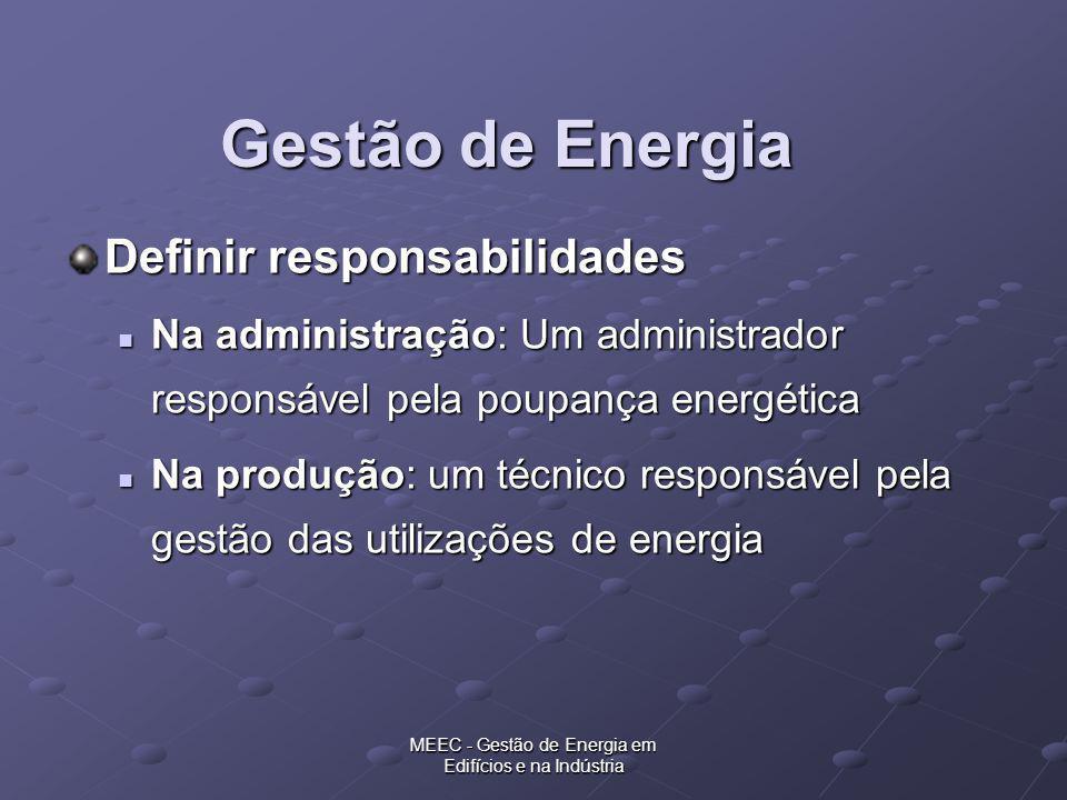 MEEC - Gestão de Energia em Edifícios e na Indústria Exemplo 2 Empresa industrial com consumos anuais de: Electricidade - 3400 MWh 986 tep Electricidade - 3400 MWh 986 tep Soma dos potências nominais dos equipamentos instalados - 1800 KW 0.52 tep/h Soma dos potências nominais dos equipamentos instalados - 1800 KW 0.52 tep/h Conclusão: Empresa abrangida pelo RGCE
