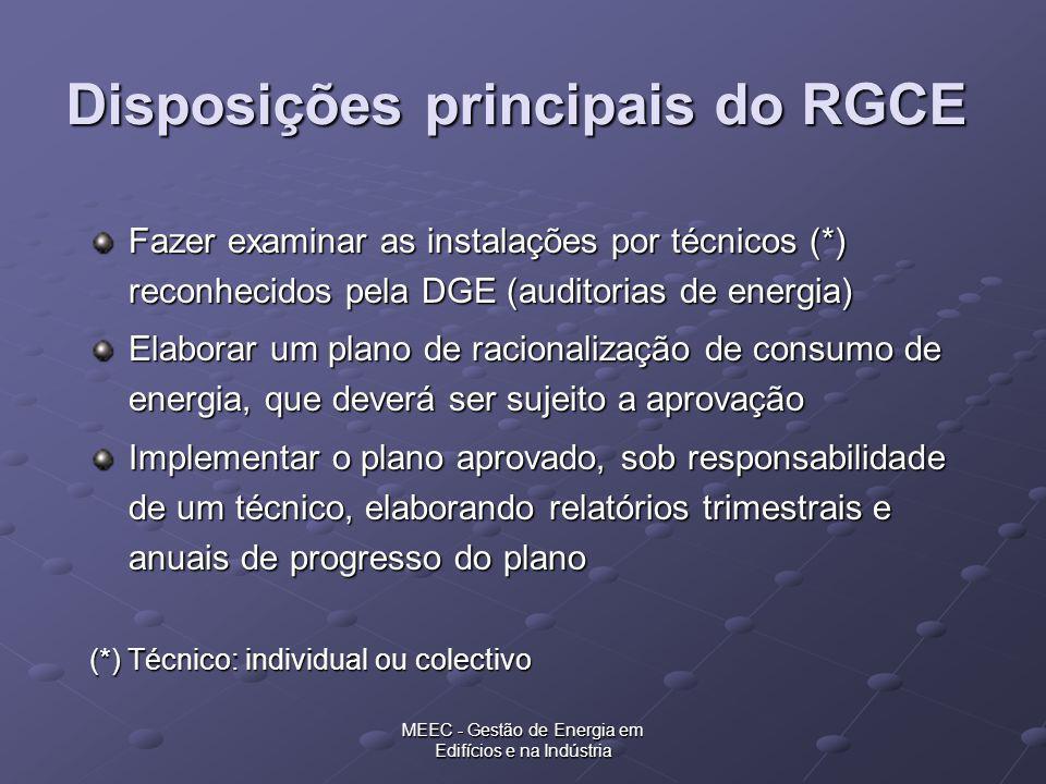 MEEC - Gestão de Energia em Edifícios e na Indústria Disposições principais do RGCE Fazer examinar as instalações por técnicos (*) reconhecidos pela D