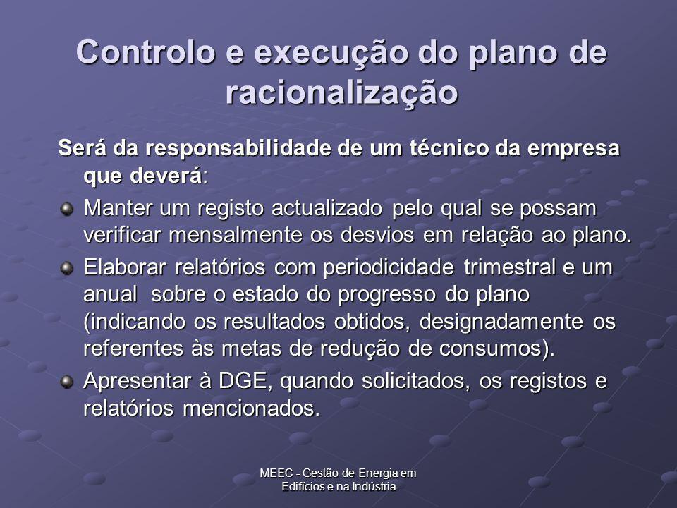 MEEC - Gestão de Energia em Edifícios e na Indústria Controlo e execução do plano de racionalização Será da responsabilidade de um técnico da empresa