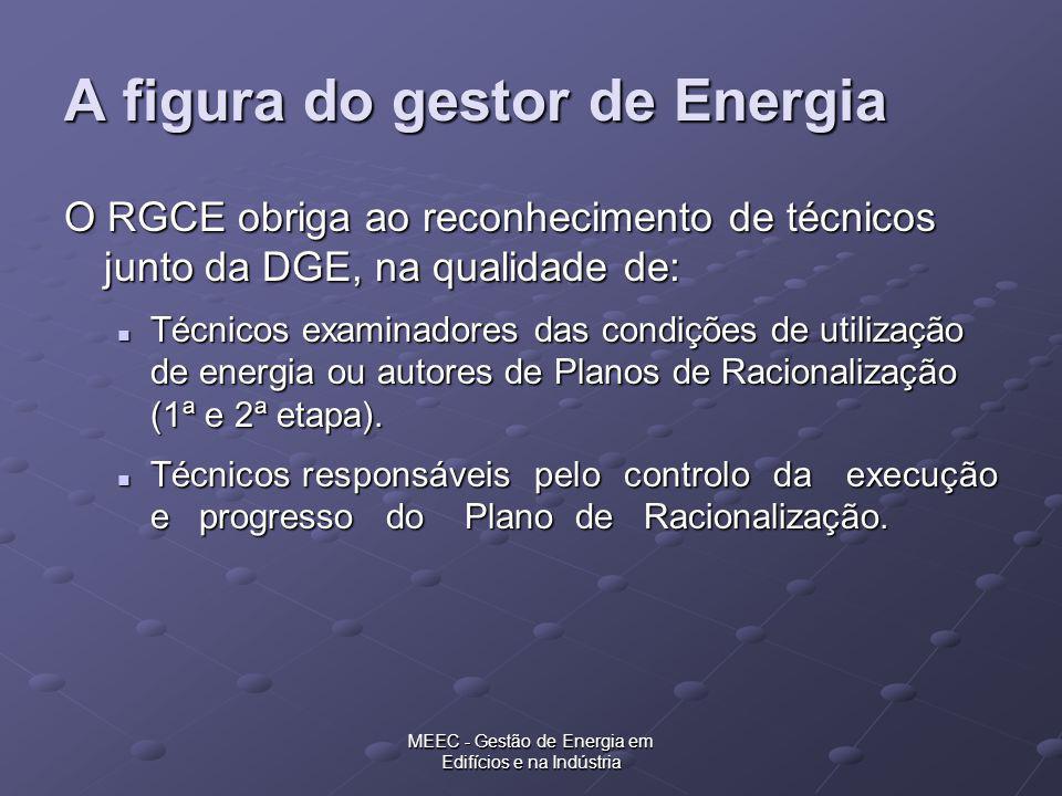 MEEC - Gestão de Energia em Edifícios e na Indústria A figura do gestor de Energia O RGCE obriga ao reconhecimento de técnicos junto da DGE, na qualid