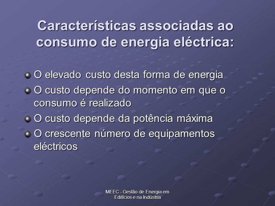 MEEC - Gestão de Energia em Edifícios e na Indústria Características associadas ao consumo de energia eléctrica: O elevado custo desta forma de energi