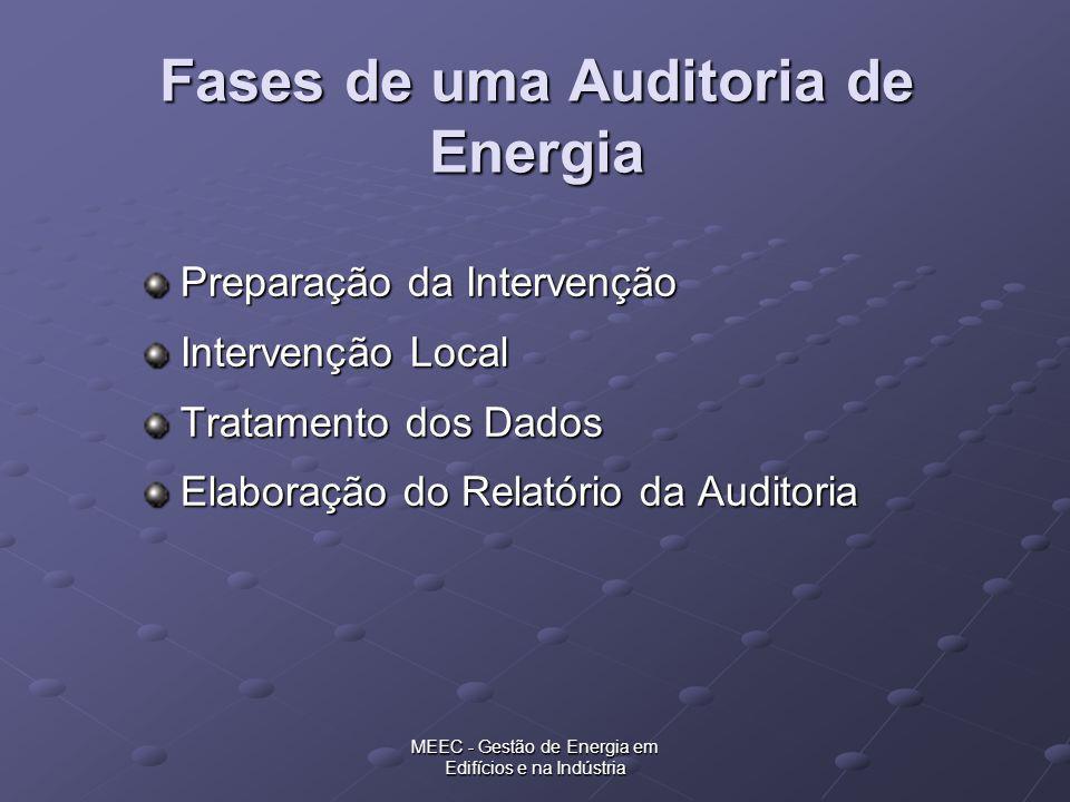 MEEC - Gestão de Energia em Edifícios e na Indústria Fases de uma Auditoria de Energia Preparação da Intervenção Intervenção Local Tratamento dos Dado