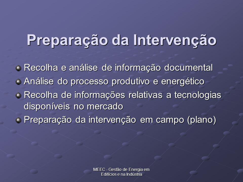 MEEC - Gestão de Energia em Edifícios e na Indústria Preparação da Intervenção Recolha e análise de informação documental Análise do processo produtiv