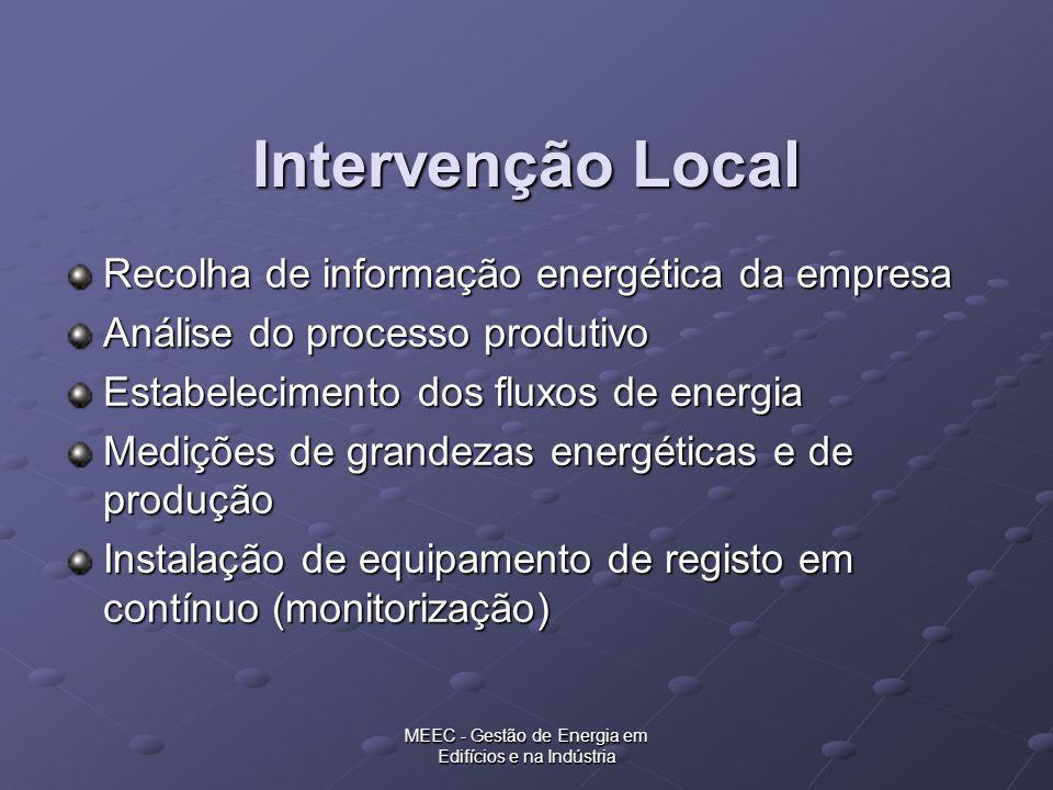 MEEC - Gestão de Energia em Edifícios e na Indústria Intervenção Local Recolha de informação energética da empresa Análise do processo produtivo Estab
