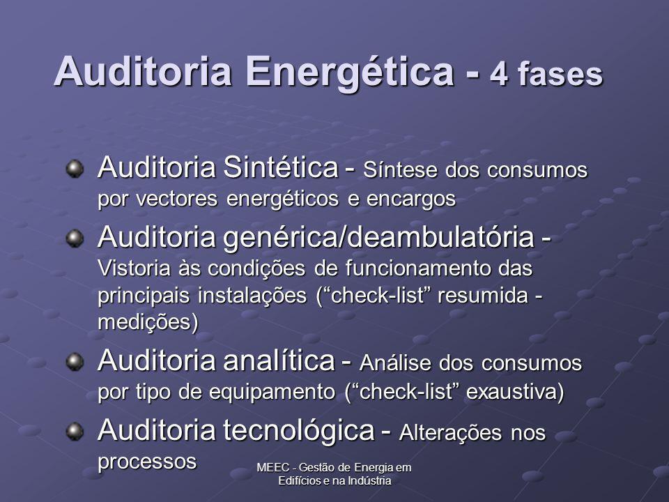 MEEC - Gestão de Energia em Edifícios e na Indústria Auditoria Energética - 4 fases Auditoria Sintética - Síntese dos consumos por vectores energético