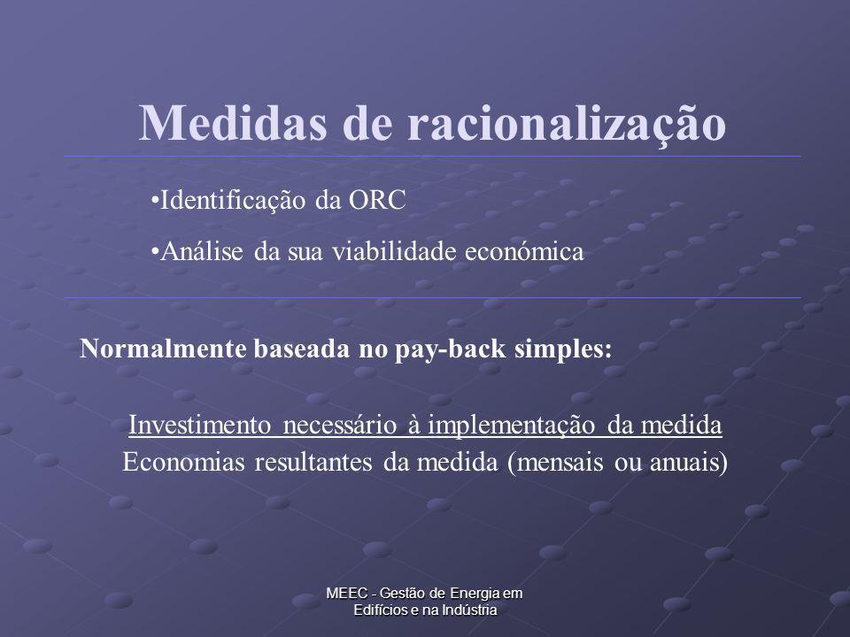MEEC - Gestão de Energia em Edifícios e na Indústria Medidas de racionalização Normalmente baseada no pay-back simples: Investimento necessário à impl
