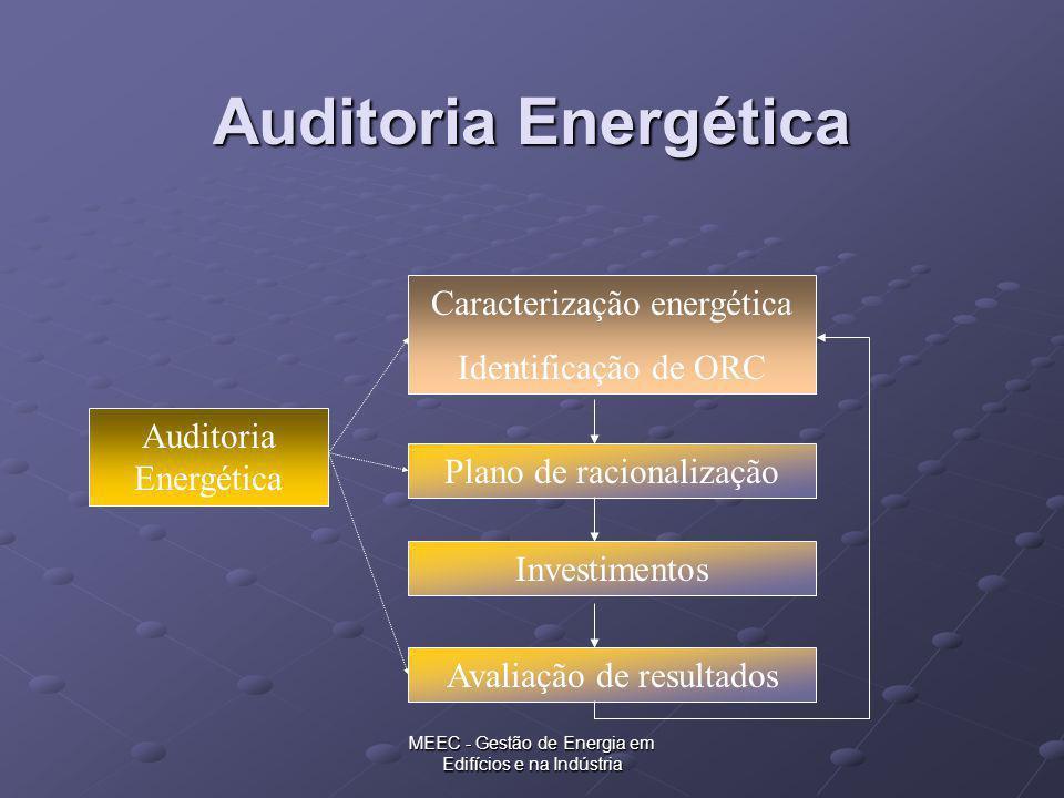 MEEC - Gestão de Energia em Edifícios e na Indústria Auditoria Energética Caracterização energética Identificação de ORC Plano de racionalização Inves