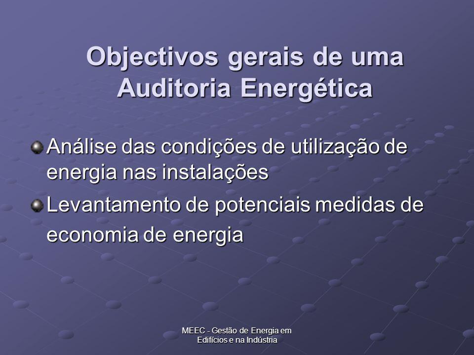 MEEC - Gestão de Energia em Edifícios e na Indústria Intervenção Local Recolha de informação energética da empresa Análise do processo produtivo Estabelecimento dos fluxos de energia Medições de grandezas energéticas e de produção Instalação de equipamento de registo em contínuo (monitorização)