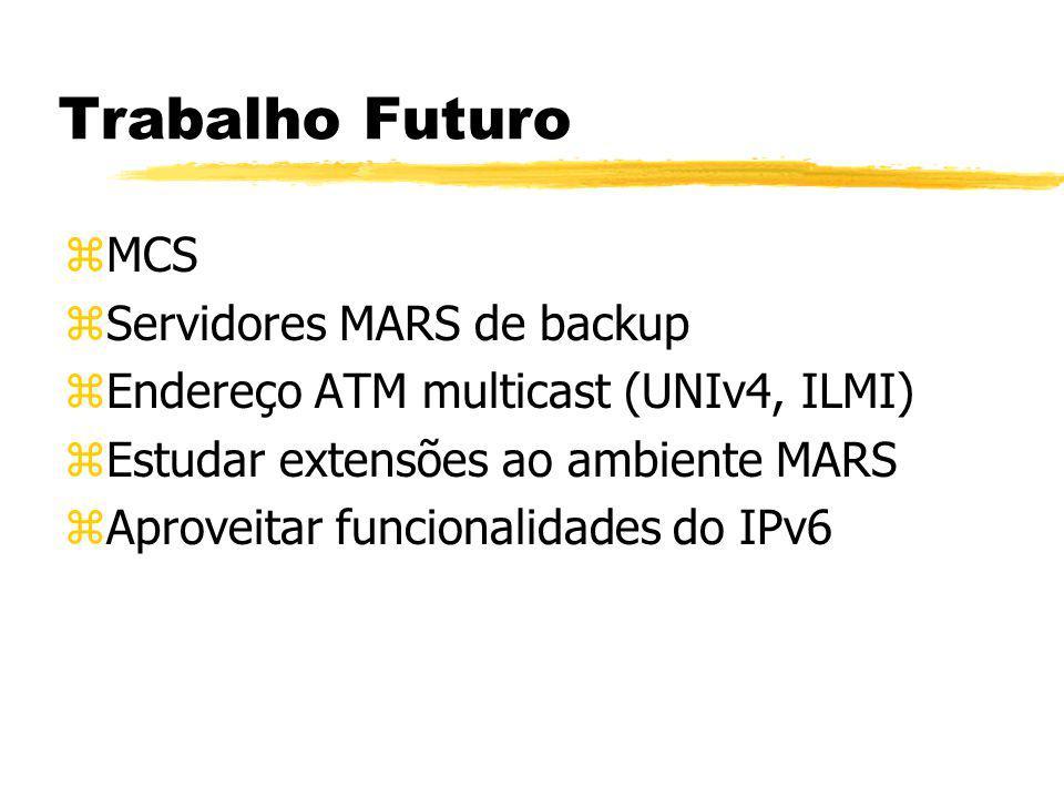 Trabalho Futuro zMCS zServidores MARS de backup zEndereço ATM multicast (UNIv4, ILMI) zEstudar extensões ao ambiente MARS zAproveitar funcionalidades