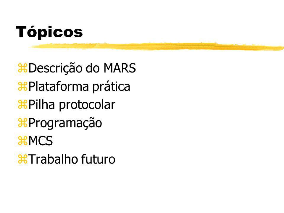 Tópicos zDescrição do MARS zPlataforma prática zPilha protocolar zProgramação zMCS zTrabalho futuro
