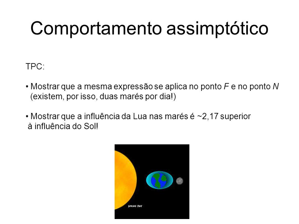 TPC: Mostrar que a mesma expressão se aplica no ponto F e no ponto N (existem, por isso, duas marés por dia!) Mostrar que a influência da Lua nas maré