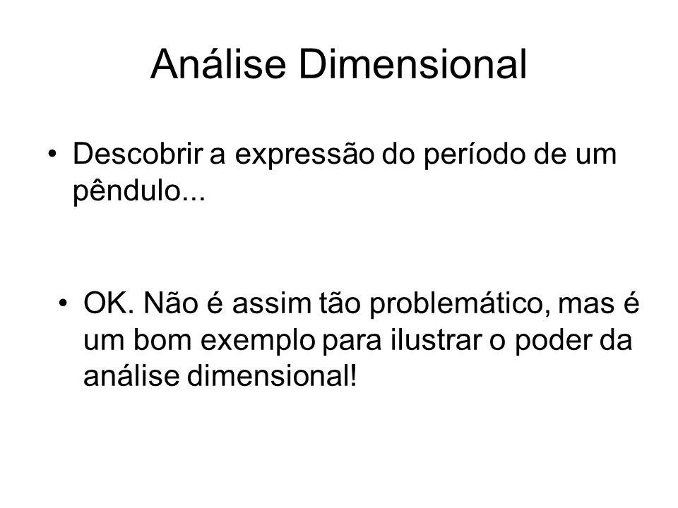 Análise Dimensional Descobrir a expressão do período de um pêndulo... OK. Não é assim tão problemático, mas é um bom exemplo para ilustrar o poder da