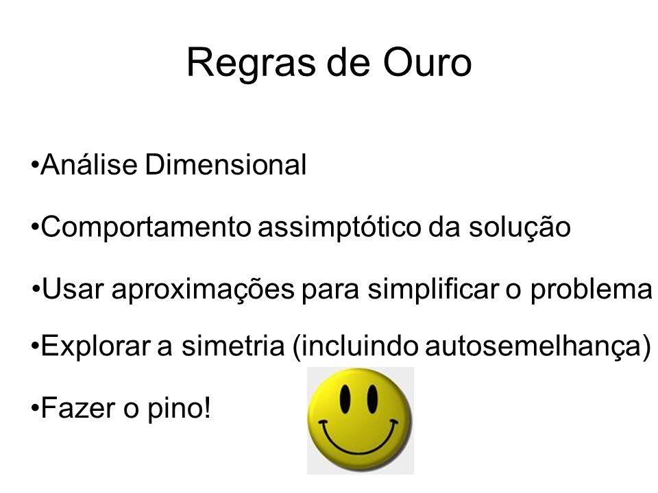Regras de Ouro Análise Dimensional Comportamento assimptótico da solução Usar aproximações para simplificar o problema Explorar a simetria (incluindo