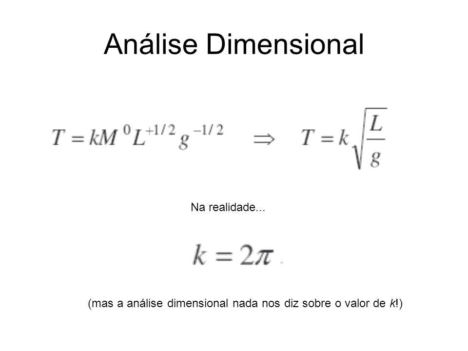 (mas a análise dimensional nada nos diz sobre o valor de k!) Na realidade...