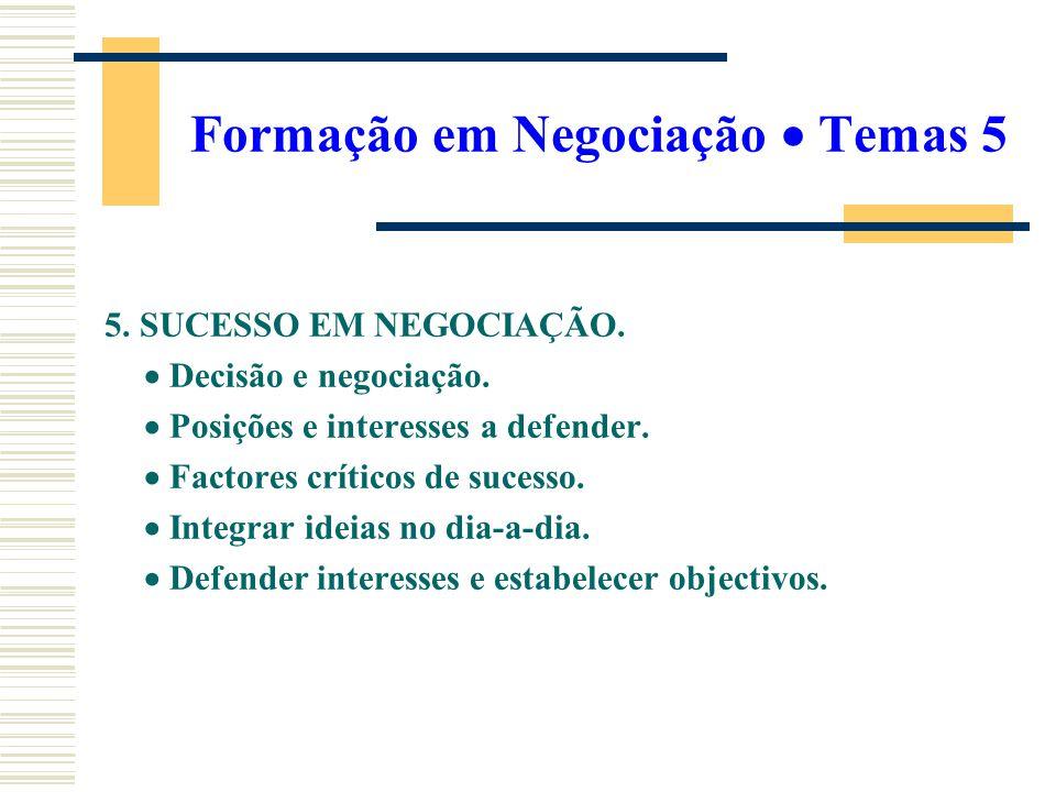 Formação em Negociação Temas 5 5. SUCESSO EM NEGOCIAÇÃO. Decisão e negociação. Posições e interesses a defender. Factores críticos de sucesso. Integra