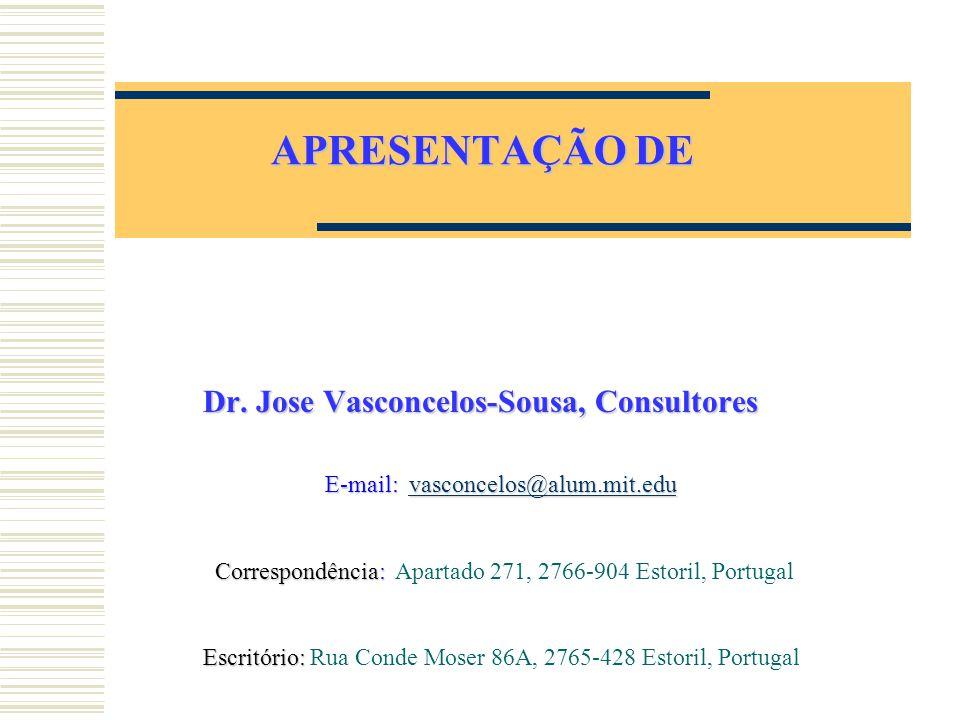 APRESENTAÇÃO DE Dr. Jose Vasconcelos-Sousa, Consultores E-mail: vasconcelos@alum.mit.edu vasconcelos@alum.mit.edu Correspondência: Correspondência: Ap