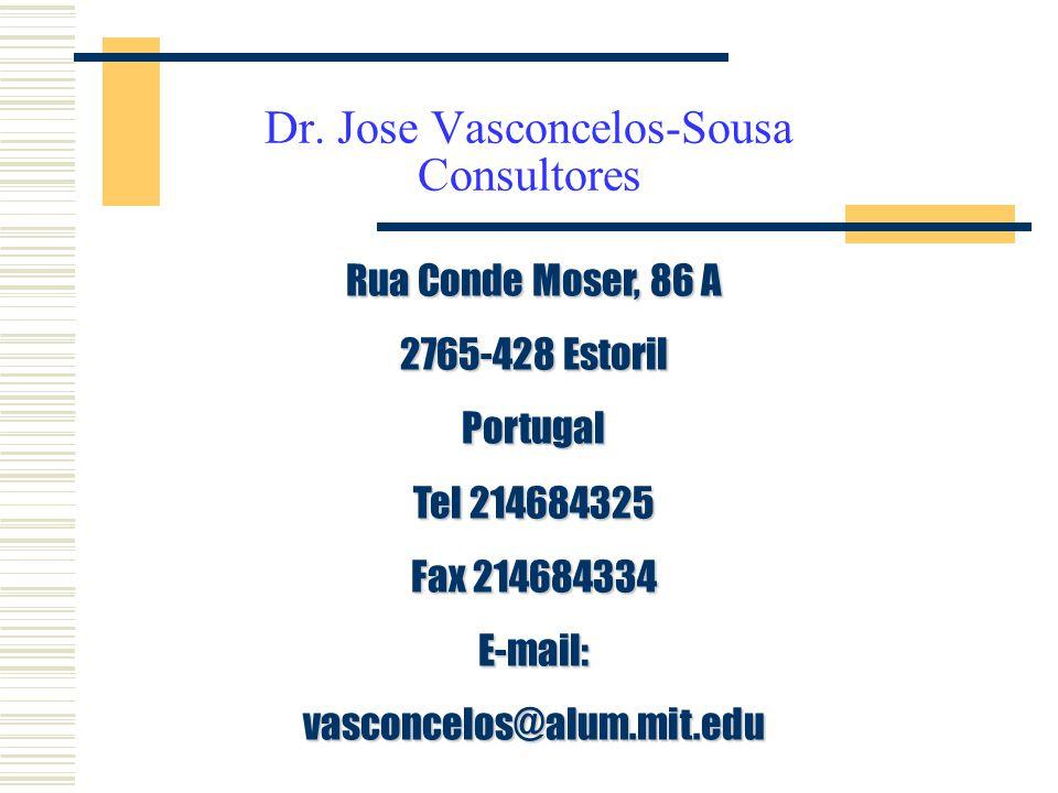 Dr. Jose Vasconcelos-Sousa Consultores Rua Conde Moser, 86 A 2765-428 Estoril Portugal Tel 214684325 Fax 214684334 E-mail:vasconcelos@alum.mit.edu