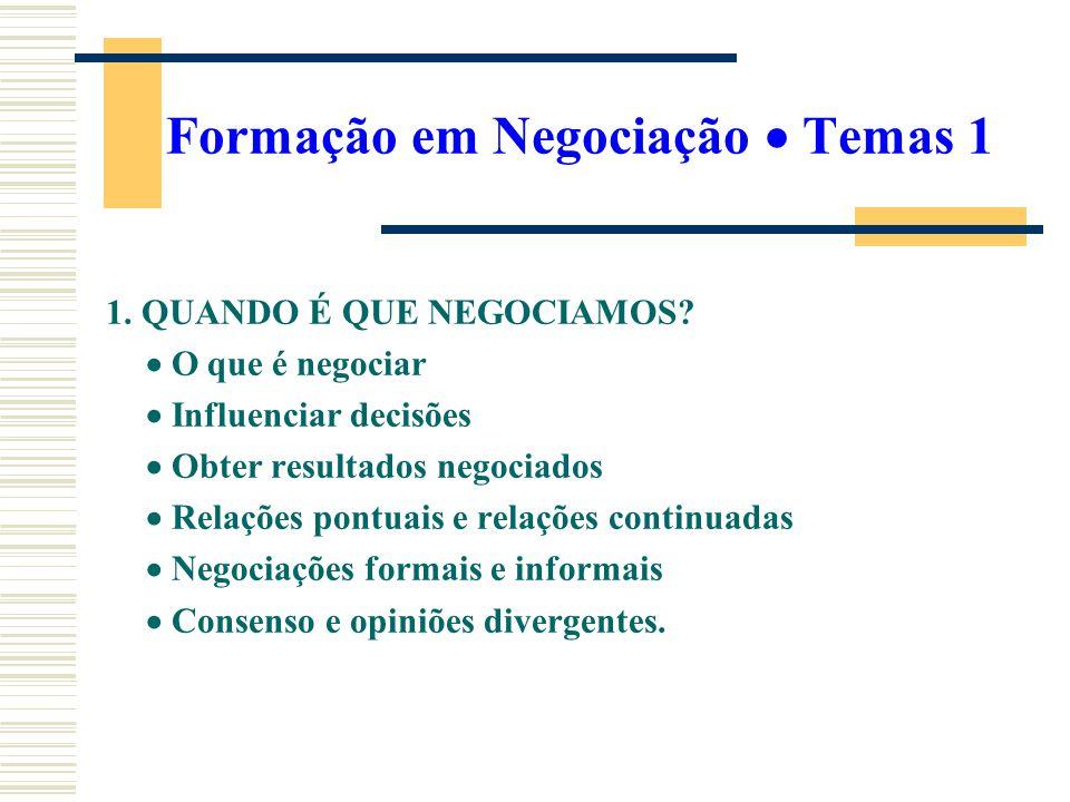 Formação em Negociação Temas 1 1. QUANDO É QUE NEGOCIAMOS? O que é negociar Influenciar decisões Obter resultados negociados Relações pontuais e relaç