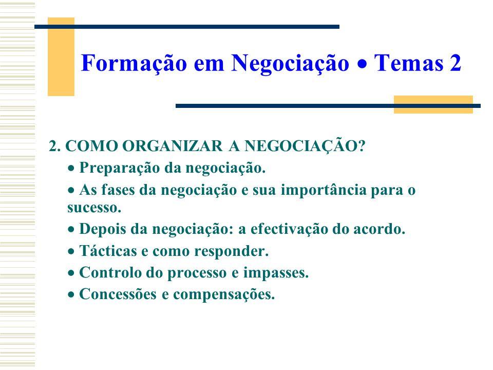 Formação em Negociação Temas 2 2. COMO ORGANIZAR A NEGOCIAÇÃO? Preparação da negociação. As fases da negociação e sua importância para o sucesso. Depo