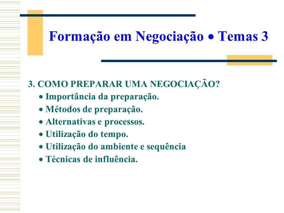 Formação em Negociação Temas 3 3. COMO PREPARAR UMA NEGOCIAÇÃO? Importância da preparação. Métodos de preparação. Alternativas e processos. Utilização